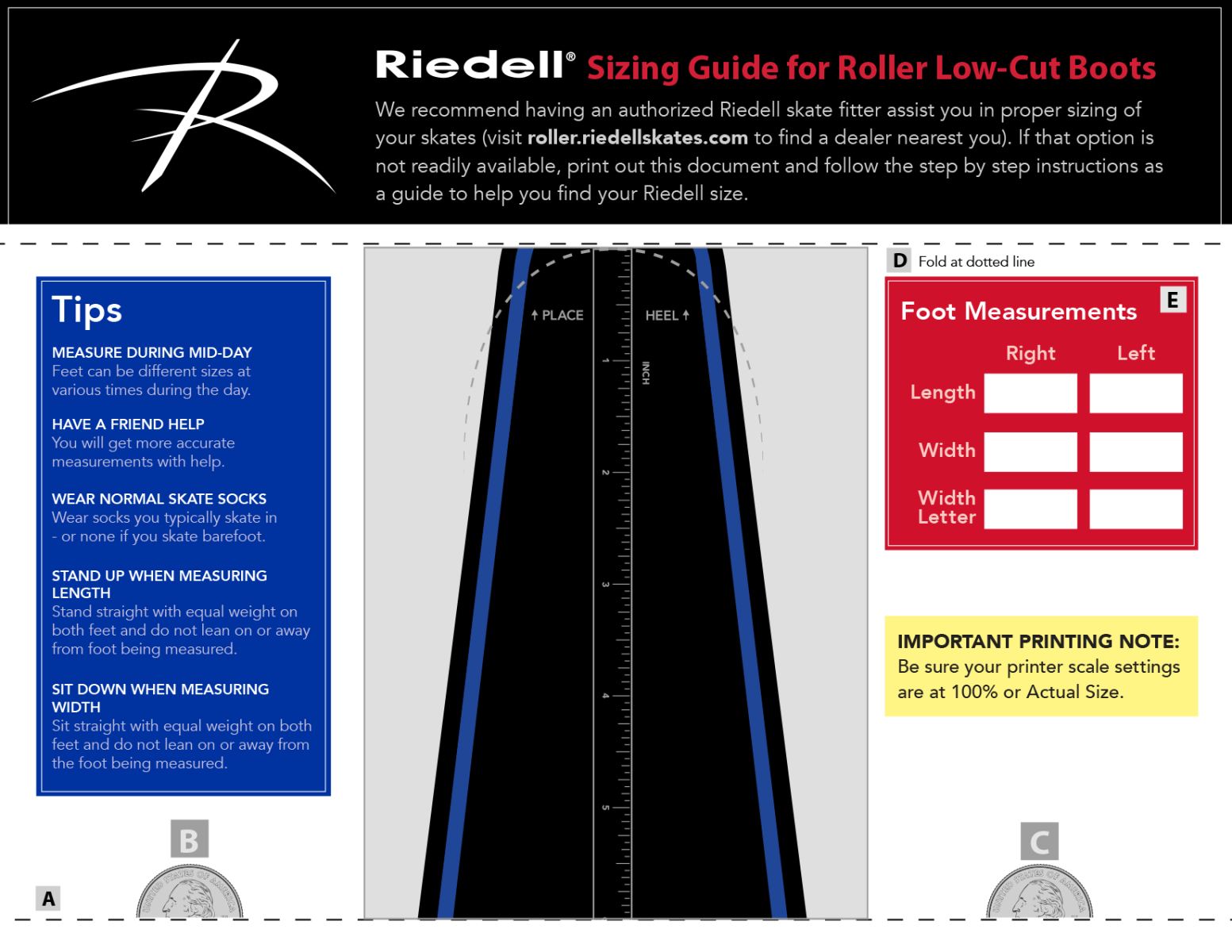 Riedell Roller Sizing Guide Low Cut Boots ImageButton