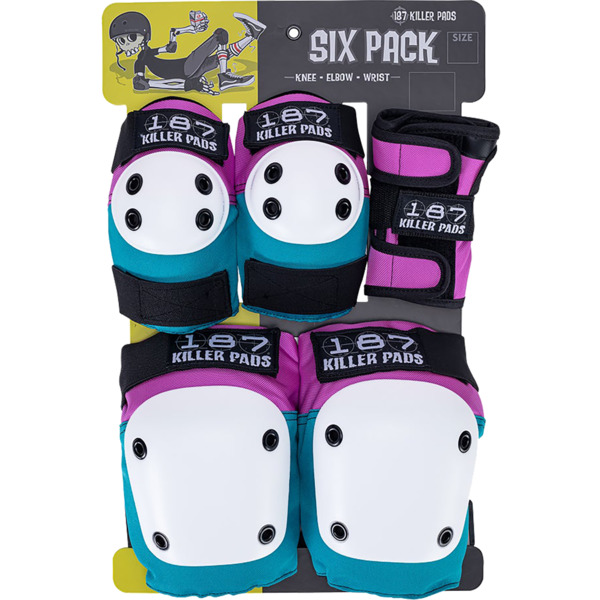 INSTOCK! 187 Killer Pads Youth Junior Six Pack Pad Set in Pink/Teal, Pink, Blue or Black