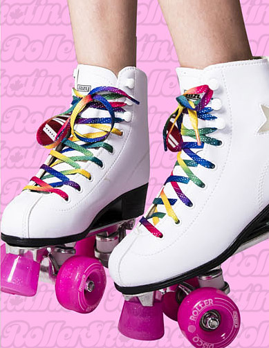 CRAZY Rainbow Glitter Skate Laces 72