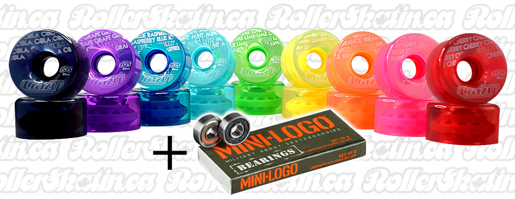 CRAZY Wheel Candy Outdoor Wheels 8-Pack + MINI-LOGO Bearings Installed!