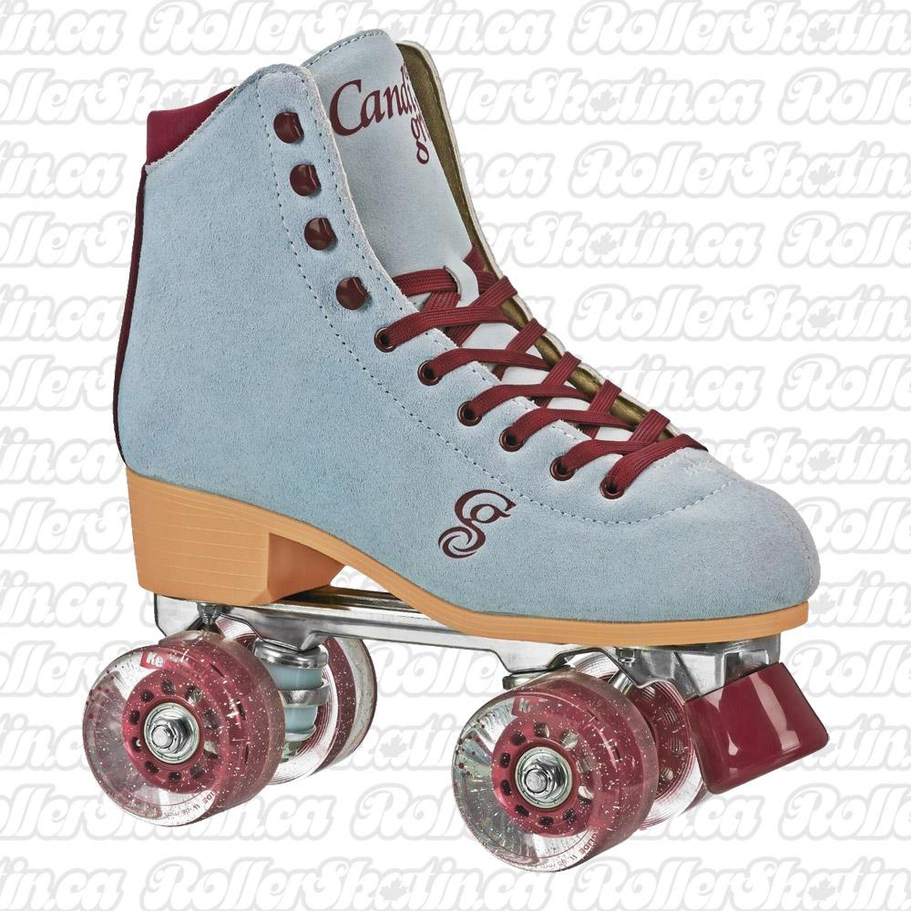 INSTOCK! Candi Girl Carlin Blue/Burgundy Suede Outdoor Roller Skates!