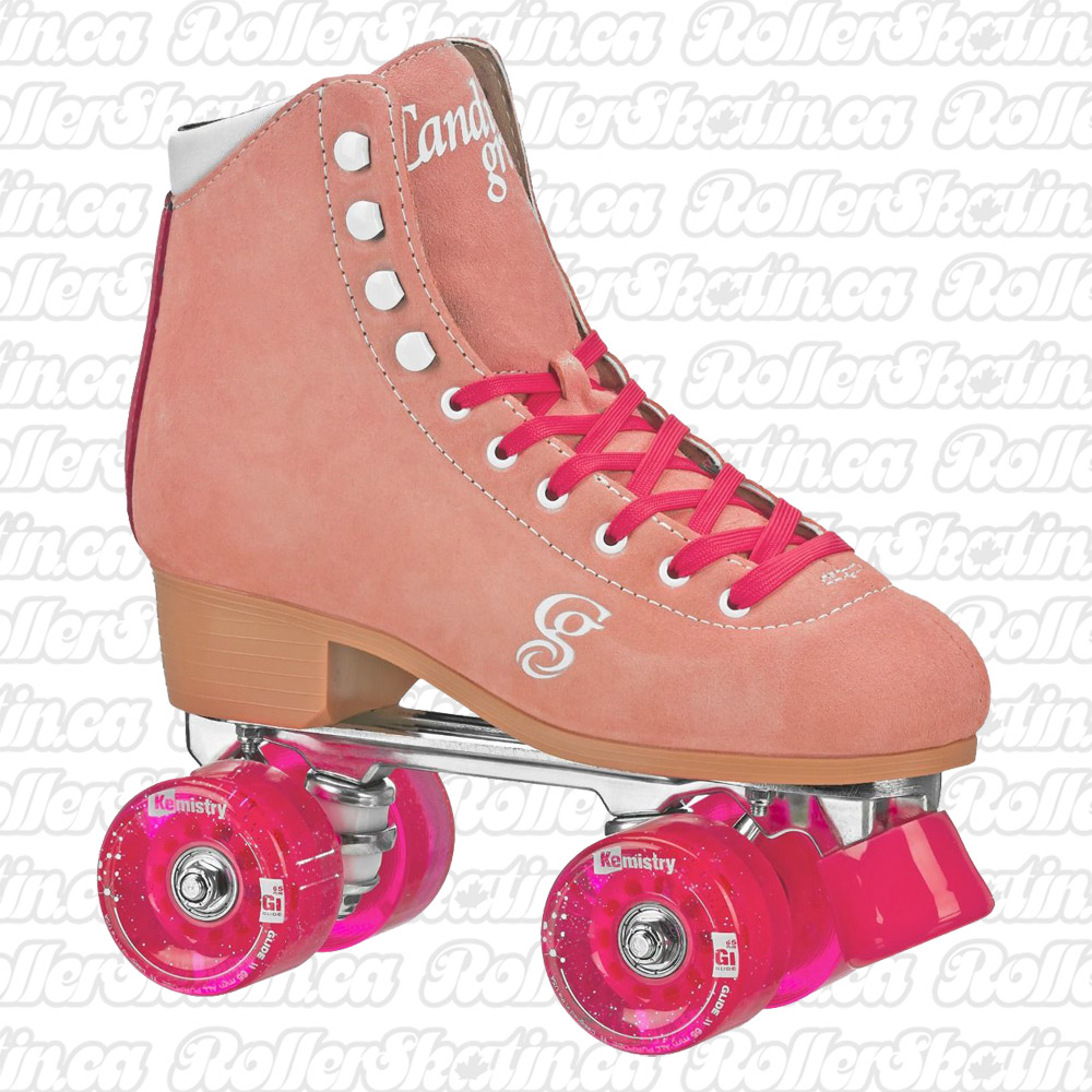 INSTOCK! Candi Girl Carlin Peach/Pink Suede Outdoor Roller Skates!