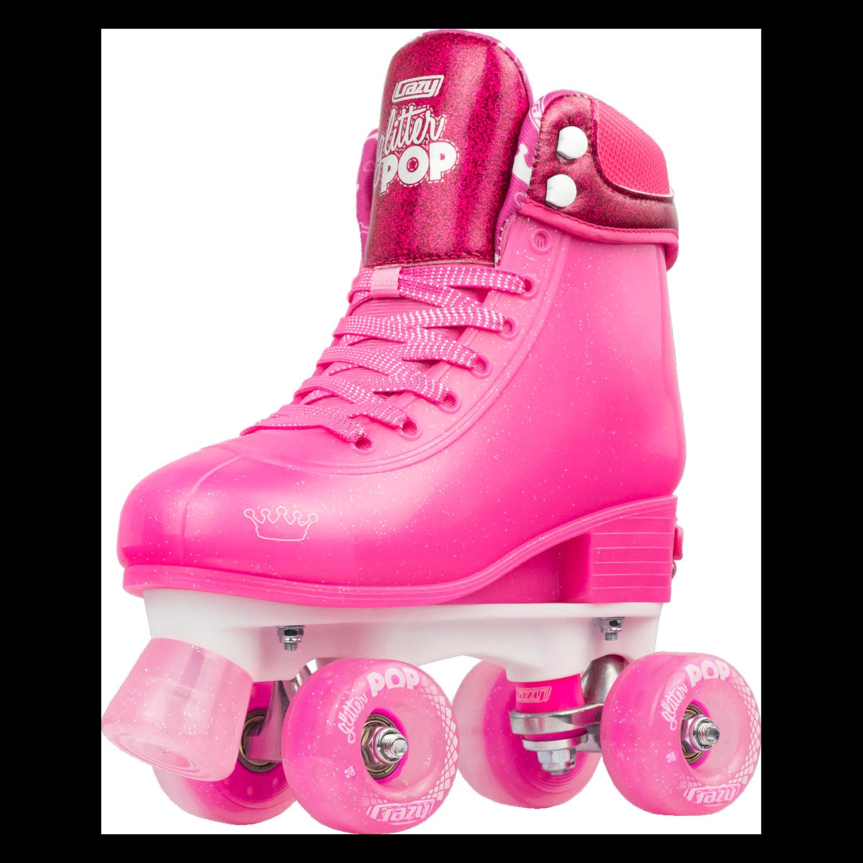 INSTOCK! CRAZY Glitter Pink POP Adjustable Size J12-2 OR 3-6 Roller Skates