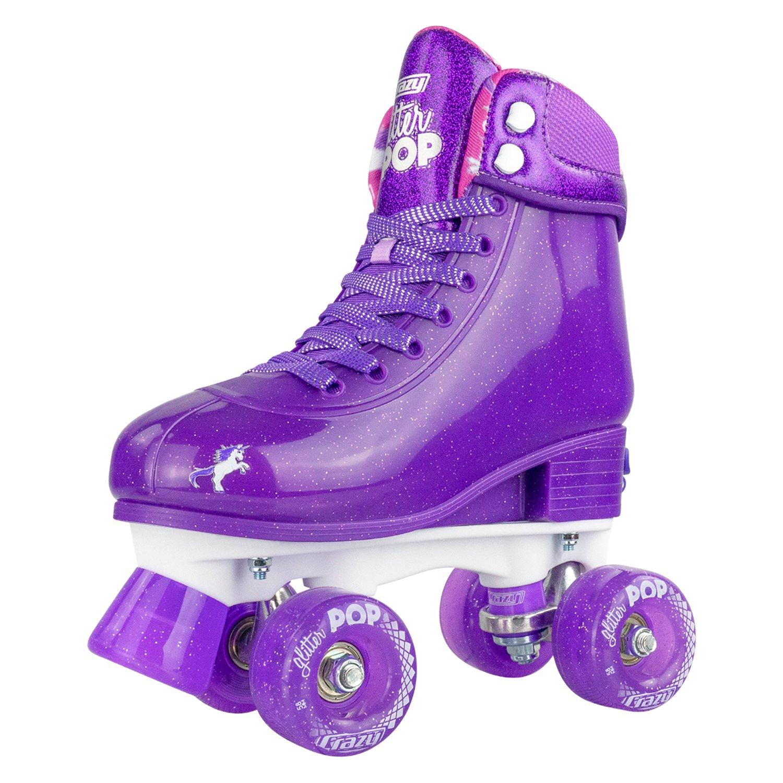 INSTOCK! CRAZY Glitter Purple POP Adjustable Size J12-2 OR 3-6 Roller Skates