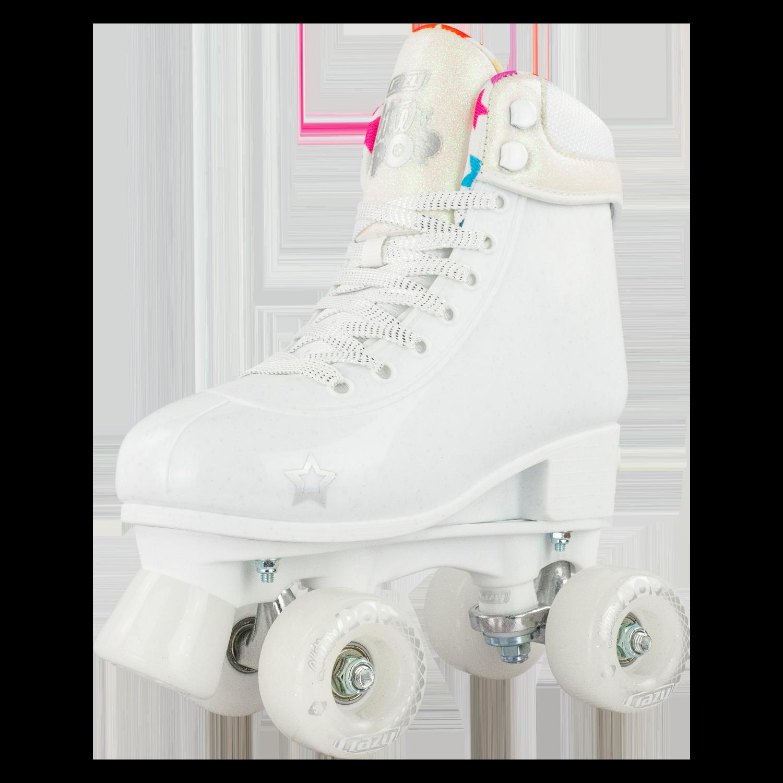 INSTOCK! CRAZY Glitter White POP Adjustable Size J12-2 OR 3-6 Roller Skates