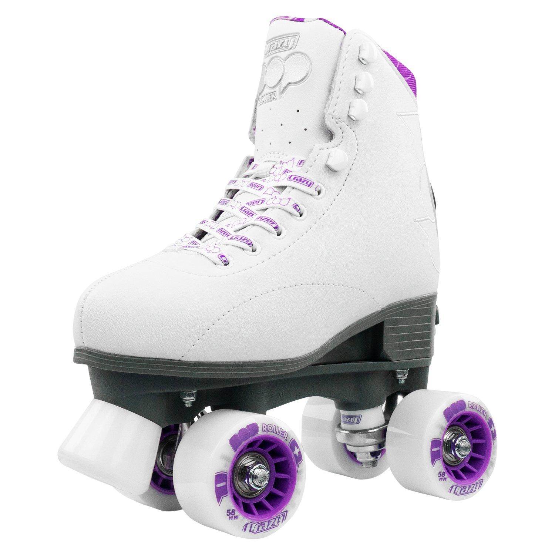 CRAZY Roller POP White or Black Adjustable Size 3-6 Roller Skates