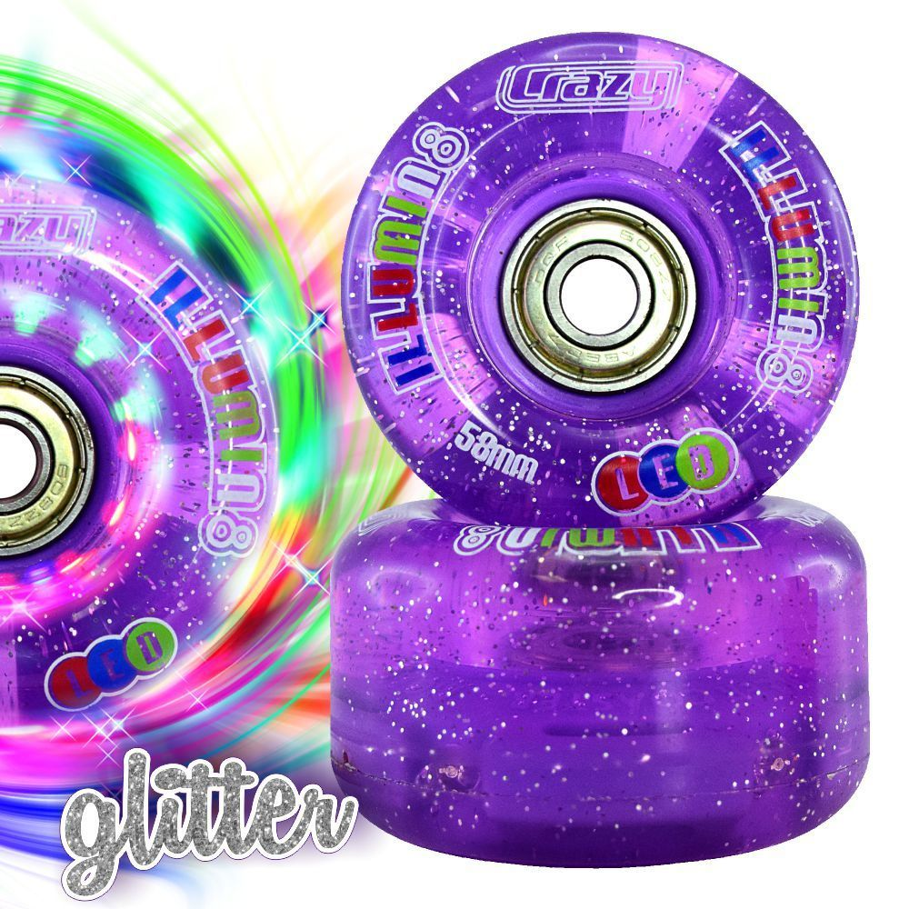 INSTOCK! Set of 8 CRAZY iLLUMIN8 LED Light Up Wheels Indoor/Outdoor with abec 7 Bearings pre-installed!
