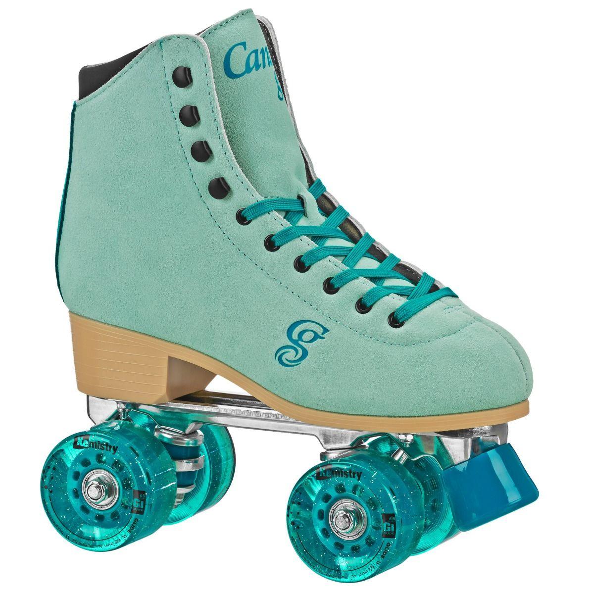 INSTOCK! Candi Girl Carlin Green/Blue Suede Outdoor Roller Skates!