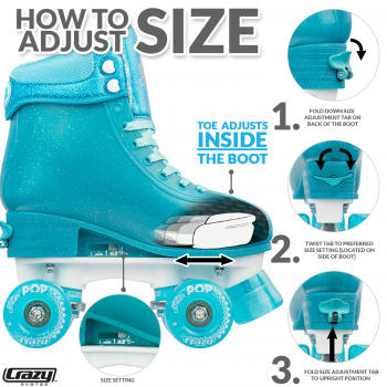 CRAZY Glitter Teal POP Adjustable Size J12-2 OR 3-6 Roller Skates