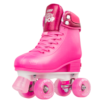 CRAZY Glitter Pink POP Adjustable Size J12-2 OR 3-6 Roller Skates
