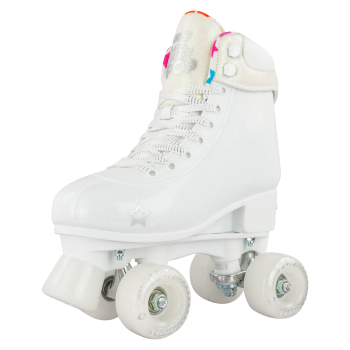 CRAZY Glitter White POP Adjustable Size 12-2 OR 3-6 Roller Skates