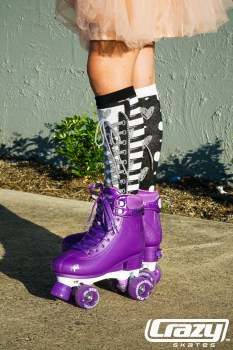 CRAZY Glitter Purple POP Adjustable Size J12-2 OR 3-6 Roller Skates
