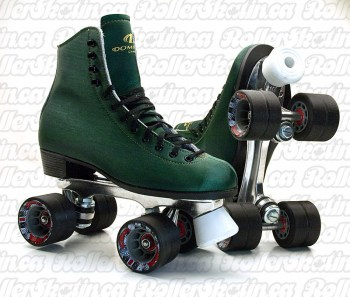 DOMINION 66 Green Microfiber + Suede Leather Size 8 Ladies Rink Roller Skate