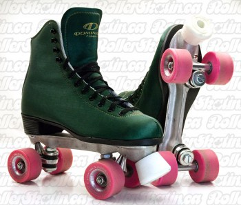 DOMINION 66 Green Microfiber + Suede Leather Size 8 Ladies Rink Roller Skate - Last Pair!