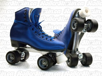 DOMINION 66 Blue Microfiber + Suede Leather Size 9 Ladies Roller Skate Indoor/Outdoor - Last Pair!