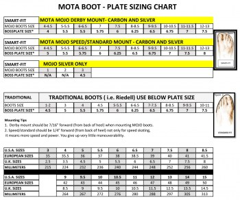 Mota Boot Sizing Chart