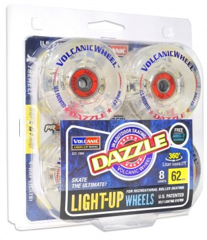 Set of 8 Volcanic Dazzle Light-Up Indoor/Outdoor Wheels with abec 7 Bearings!