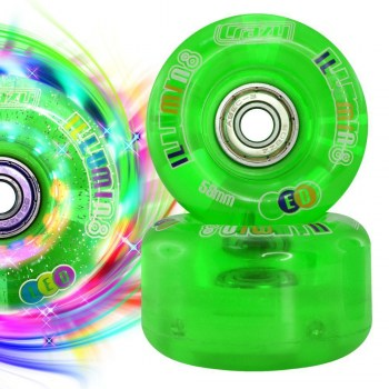 Set of 8 CRAZY iLLUMIN8 LED Light Up Wheels with abec 7 Bearings pre-installed!