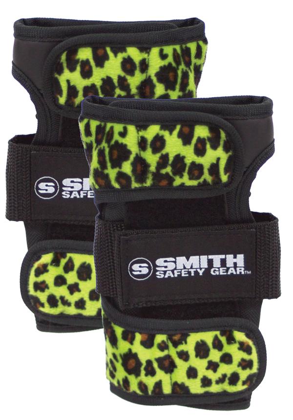 roller derby skateboard WRIST GUARDS white Leopard Smith Scabs Safety Gear